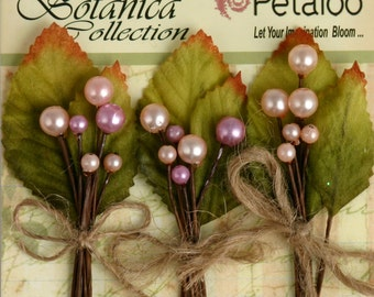"""Petaloo """"PINK"""" Spring Berry Clusters. Pearl Wire Picks with Leaves. Vintage Inspired Accessories and Decorations."""