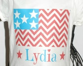 Red, White and Turquoise Chevron Flag with name Shirt or Bodysuit Size Preemie Newborn 3 mo  6 mo 9 mo 18 mo 24 mo 2t 3t 4t 5 6 8 10 12