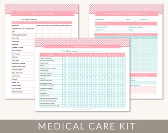 Medical Information Kit, Organizing Printable Templates, 9 Editable PDF Files for Letter and A4 Paper, Instant Download