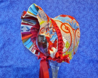 Baby Sun Bonnet Red Abstract and Stripes Lace, bows
