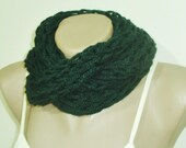 Green Scarf, Infinity Scarf, Hand Knit Green Infinity Scarf, dark Green Scarf, Chunky Scarf, Infinity Scarves  - WINTER SALE