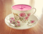 Customized Teacup Candle - Vintage Swinnertons Staffordshire English China with Pink Floral Design Soy Wax Tea Cup Candle your choice scent