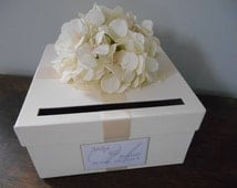 Ivory Wedding Card Box Ivory Hydrangeas and Custom Personalized Tag Can You choose Flowers and Colors