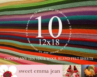 12x18 Wool Felt Sheets - Choose any TEN wool felt sheets