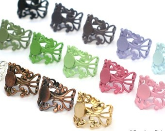 YOU Create Set of 100 Colors and METALS  Multi Assortment Adjustable Filigree Ring Base with Pad top QUALITY 20mm