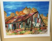 Colorful Barn Print on Metalic Gloss Paper 18x14 inches with a 1 inch border