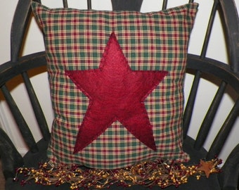 UNSTUFFED Primitive Pillow Cover Barn Star Prim Country Home Decor Folk Art Decoration Stitchery Penny Rug Early Colonial Style wvluckygirl