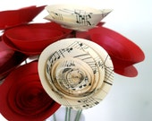 Musical Valentines Gift; 12 Paper Flowers made with Vintage Sheet Music; Unique Valentines Gift; Valentines Day Decor