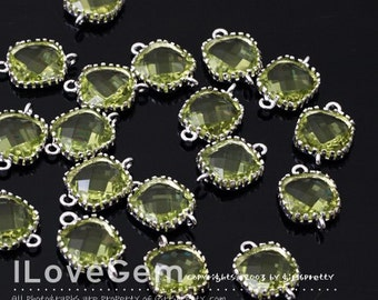 P106 Rhodium plated, Peridot Green, 9mm Glass Square, Framed Glass connector, 2pcs