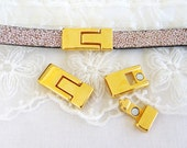 Slim Line T Hook Magnetic Clasp for 5mm to 10mm Flat Leather Cord, Flat Leather Magnetic Bracelet Clasp, Gold  - 1 set