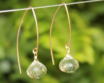 Green Amethyst Earrings, Gold Filled Green Amethyst Marquise Earrings, Gemstone Marquise, Lightweight Earrings, Drop Earrings