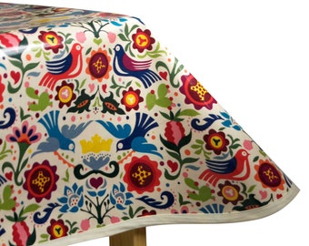 Laminated Cotton Oilcloth Tablecloth La Paloma tea stained print by Alexander Henry pick your size and edge finish