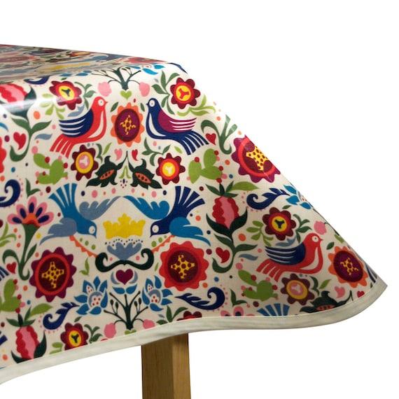 laminated cotton oilcloth tablecloth la paloma tea stained. Black Bedroom Furniture Sets. Home Design Ideas
