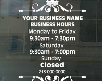 H X W Custom Business Hours Window Sign For Grooming - Window decals for business hours
