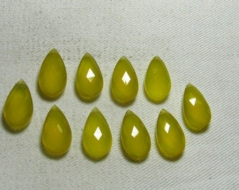 NEW / Arrival - 5 Matched Pair -  Yellow Chalcedony CHALCEDONY - 10x17 mm Long Gorgeous Blue Colour Faceted Sparkle