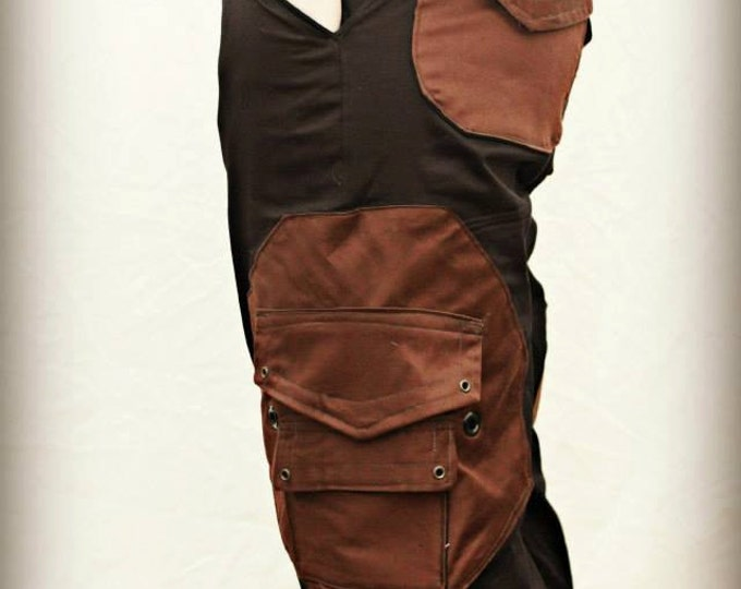 Featured listing image: Black Cargo Pants, with Brown Octagonal Pockets.