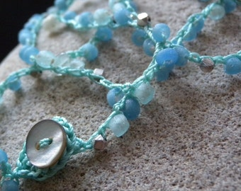 Recycled Blue Glass Bead Wrap Bracelet or Necklace with Peruvian Opal and Bali Silver Beads