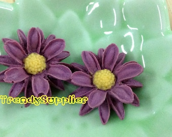 4 pcs Amethyst Purple Sunflower Cabochons (035)