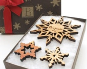 Personalized Christmas Ornament Snowflake Gift Box - Custom Monogram Lid Holiday Gift
