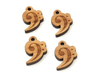 Bass Clef Charm - 4 pack . Made in the USA with Sustainable Black Cherry Wood. Charms by Timbergreen Woods.