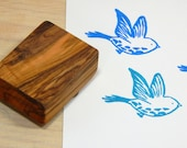Linocut Style Bird Olive Wood Stamp