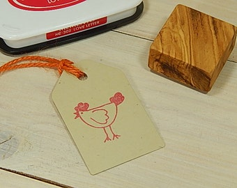 Chirpy Chicken Olive Wood Stamp