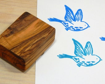 Linocut Style Bird Olive Wood Stamp