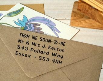Contemporary Wedding Correspondence Return Address Olive Wood Stamp