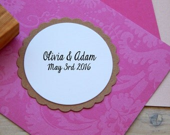 Small Save the Date Stamp Olive Wood Custom  Stamp
