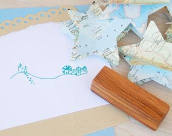 Santorini Skyline Sketch  Olive Wood Stamp