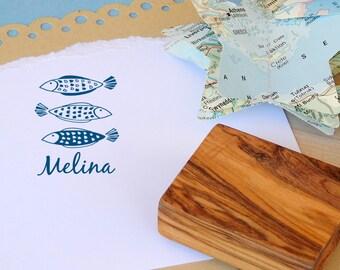Custom Mediterranean Fish Trio Olive Wood Stamp