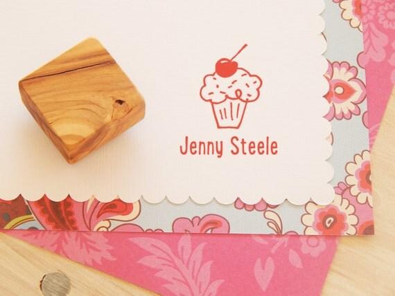 Custom Cherry Cupcake Olive Wood Stamp