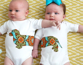 Dachshund twin baby set - Reverse front and back in the fabric of your choice