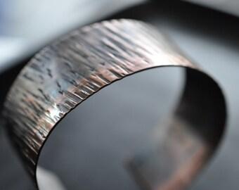 Copper Textured Oxidized Cuff