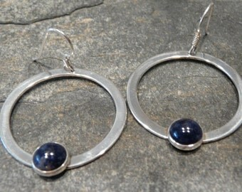 Sterling Silver Earrings With Lapis OOAK
