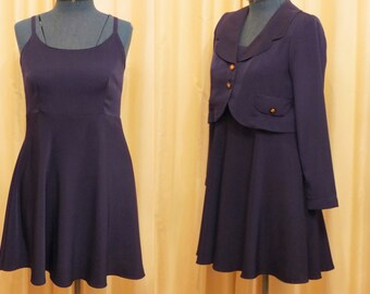 Vintage Two Piece Young Star Designs Australia Purple Mini Dress and Long Sleeve Bolero Jacket Suit Set