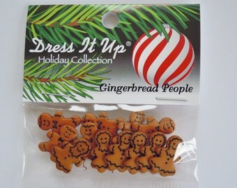 Dress it up Gingerbread People buttons - 12 buttons - gingerbread men and women - original packaging