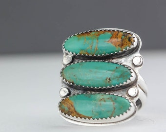 Green Turquoise Ring, Sterling Silver Ring, Southwest Ring, Cocktail Ring