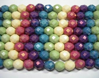 15 8mm Rainbow Opaque Luster Czech Fire Polish Glass Beads