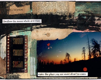 Swallow the Moon Whole - Collage Art Print