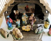 Vintage NATIVITY SET 1950s made in Italy EUROPEAN Vintage Colors