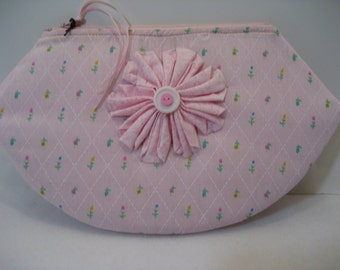 Zippered Pouch Small –Feminine Pink with Pink Fabric Flower