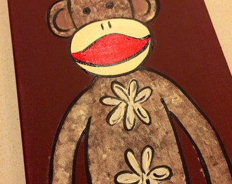 Hand painted sock monkey painting