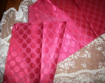 "Wonderful red polka dot very wide silk ribbon 1 yd. 34"" in one length"