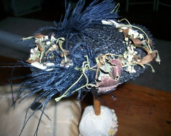19th Century real doll's hat black straw lined in silk