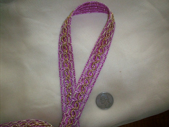 1 yd. of a Vintage french metal trim in rich scrumptious pink and gold metal