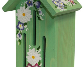 Green Butterfly House with Hand Painted Daisies