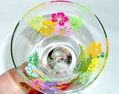 Margarita Glass Tropical Flowers Hand Painted