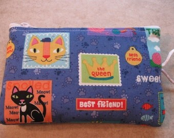 cat block print padded makeup jewelry bag