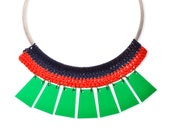 Green Plexiglass Collar Statement Necklace